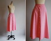 vintage skirt / 1940s / pink / cotton / medium