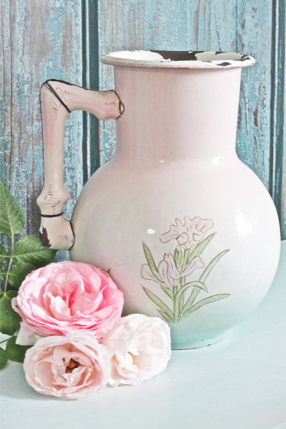 RESERVED FOR JENNIFER -French Enamelware Pitcher - Vintage & Rare with Beautiful Pink Blue and Green Colors