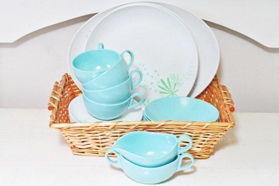 Retro Set of Melamine or Melmac Dishes in Aqua Turquoise Blue and White