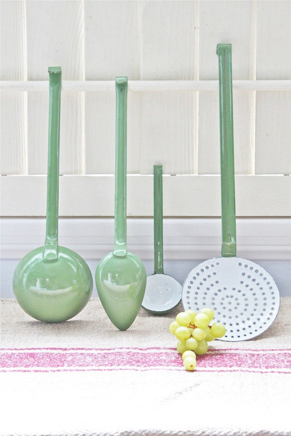 DO  NOT PURCHASE - Reserved for Bea - Vintage European Enamel Cooking Utensils - Set of Four