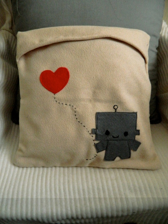 "Cute ""Yours and Mine"" Robot cushions pillow"