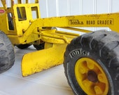 Vintage Tonka Truck. Yellow Toy Road Grader, Snow Plow, Tractor
