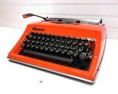SALE Vintage Typewriter Orange Adler Contessa DeLuxe Manual Typewriter
