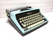 Vintage Typewriter Robins Egg Blue Olympia SM 9 DeLuxe Manual Typewriter