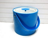 RESERVED for Sarah -- Vintage Ice Bucket Blue Georges Briard Vinyl Ice Bucket