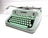Vintage Typewriter Hermes 3000 Seafoam Mint Green Manual Typewriter