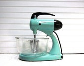 RESERVED for Catherine Norton -- Sunbeam Mixmaster Robins Egg Blue Model 11 Vintage 1960s 10 Speed Sunbeam Stand Mixer