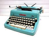 SALE Vintage Typewriter Turquoise Royal Quiet DeLuxe Baby Blue Manual Typewriter