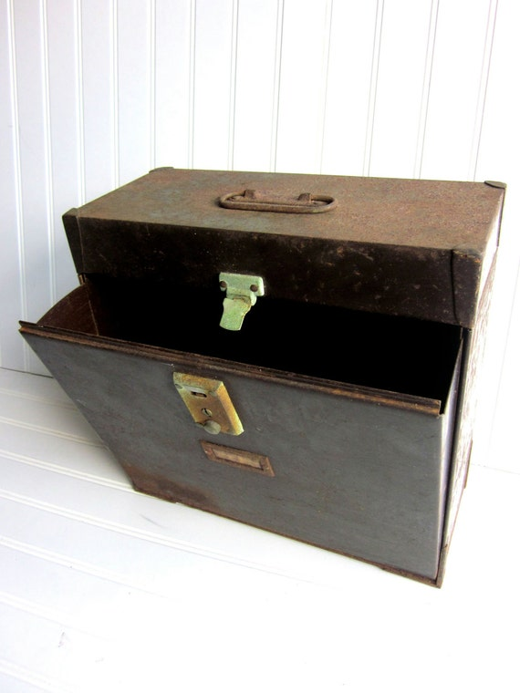 SALE Vintage Metal Box Industrial File Storage, Fold Out Compartment Brown Box Rusty Goodness.