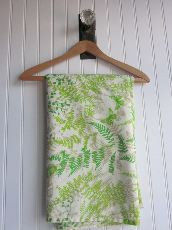 Green Fern, Butterfly Vintage Fabric. Flat, twin sheet. Cotton Blend, by Caress, Botanical Print, Greens and Khaki Leafy Pattern.