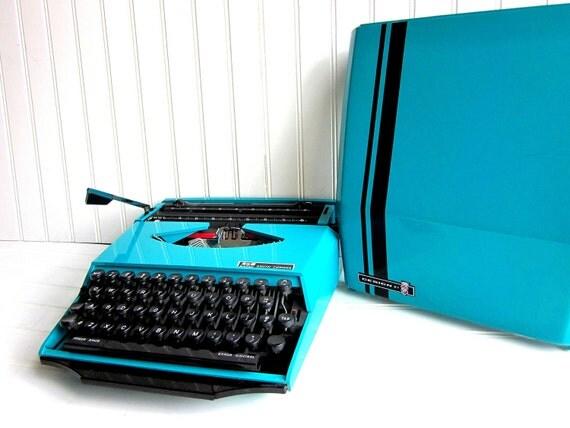 Vintage Typewriter Aqua Blue Smith Corona Super G Manual Typewriter Ghia Design