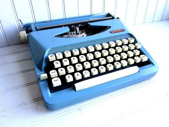 Vintage Typewriter Baby Blue Royal Fiesta Manual Typewriter