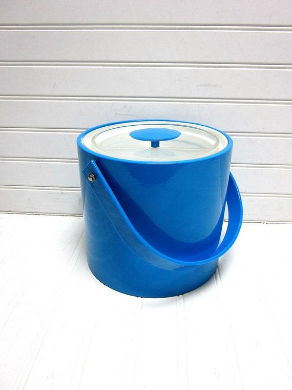 RESERVED for Sarah -- Vintage Ice Bucket Blue Georges Briard Vinyl Ice Bucket