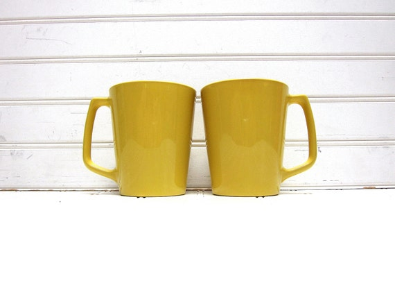 Vintage Yellow Centura Mugs, Mod Mustard Yellow Teacups 1960s by Corning Ware