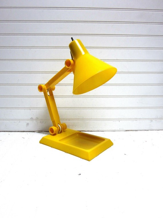 Vintage Lamp Yellow A-Justa-Lamp Desk Organizer Mod Panton Era Light