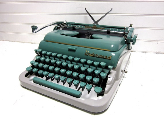 RESERVED for Ray -- Vintage Typewriter Teal Green Underwood Quiet Tab Deluxe Manual Typewriter