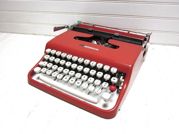 SALE Vintage Typewriter Red Olivetti Lettera 22 Sears Courier Salmon Pink Manual Typewriter