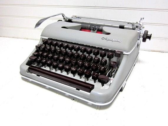 RESERVED for elainelai -- Vintage Typewriter CURSIVE Olympia SM 3 Deluxe Manual Typewriter