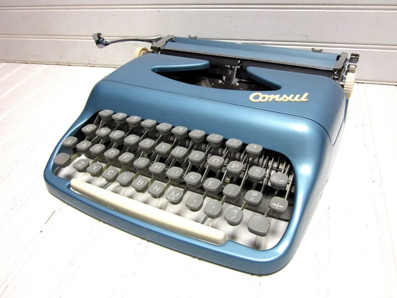 RESERVED for Ceri Donoghue -- Vintage Typewriter Steel Blue Consul Model 31 Manual Portable Typewriter