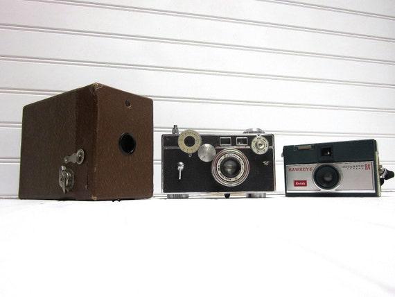RESERVED for Kate -- Vintage Camera Collection Kodak 2A Box, Argus C3 Matchmatic, Kodak Hawkeye Instamatic Three Vintage Cameras