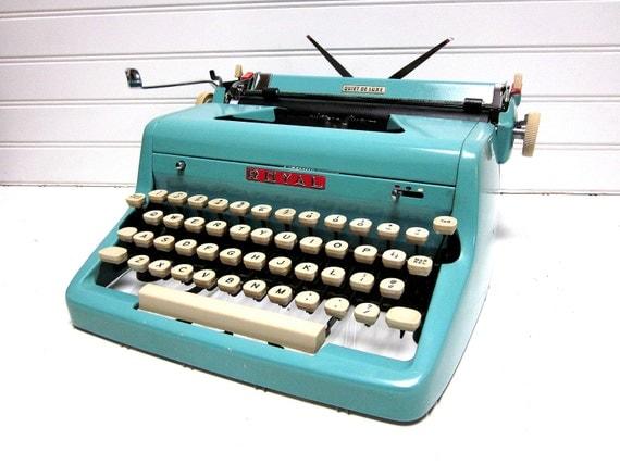 SALE Vintage Typewriter Turquoise Royal Quiet DeLuxe Baby Blue Manual Typewriter