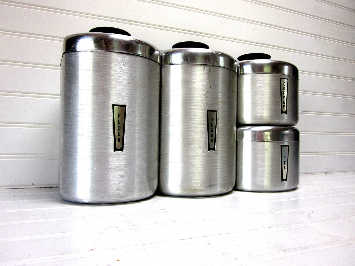 Vintage Kitchen Canisters Mid Century Atomic Stainless Steel