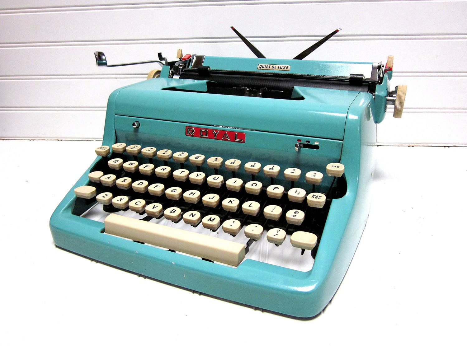 Sale Vintage Typewriter Turquoise Royal Quiet Deluxe Baby Blue