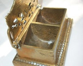 Vintage Fancy Lidded Brass Stamp Holder
