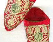RESERVED Vintage Red Leather 1940s era Moroccan Embroidered Flats -  Bohemian - Hippie Chic