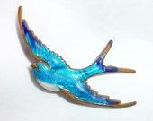 Vintage Enamel Blue Bird in flight - Sparrow  -  Brooch