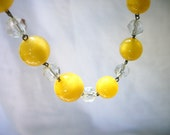 Vintage Lemon Drop Satin Glass - & Crystal - Beaded Necklace - Choker