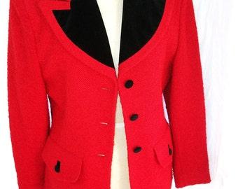 Vintage Jacket Classic Red Boucle Wool & Black Velvet  ~  Blazer ~ Wool Blend ~ Size 8 Jacket