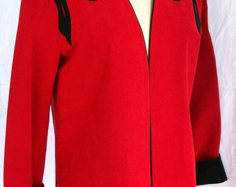 Vintage Suede Elongated Jacket ~ Collarless Red with Black Leather ~ Size 8 ~ Side Slits