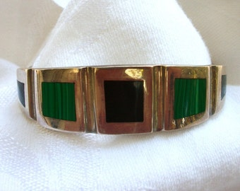 Vintage Mexican Sterling Silver Hinged Bangle - Vintage - Bracelet - Malachite Onyx Lapis