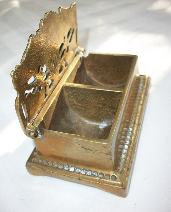 Vintage Fancy Lidded Brass Stamp Holder