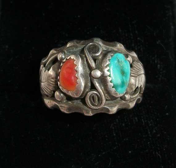 Vintage Navajo Sterling Silver Turquoise & Coral Ring Marked MAX C