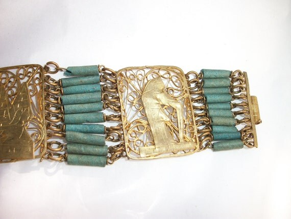 Vintage egyptian revival faience turquoise clay by for Faience turquoise