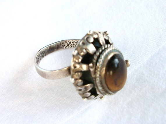 Taxco Mexico Poison Ring Adj Sterling Silver 925 Tiger Eye Secret Compartment Vintage