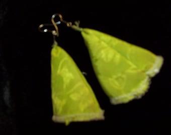 Hand Made, Custom Designed Lime Green Jaquatd Earrings, Long Poet cut