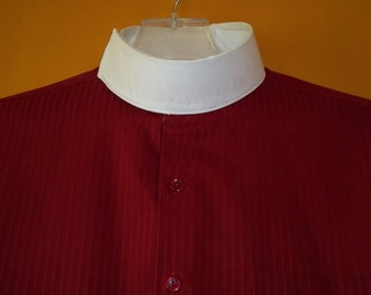 Clergy Shirt with High Pontiff Collar. Burgandy Cotton, Custom Made Cuffs and Monogrammed