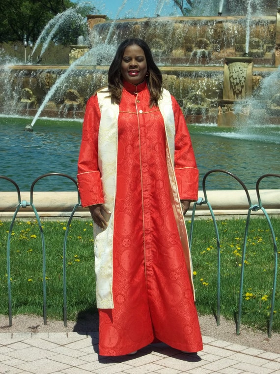 Custom  Made Vest Long Tunic. Completely Hamd made from Gold and Cream Brocade Clergy Cloth