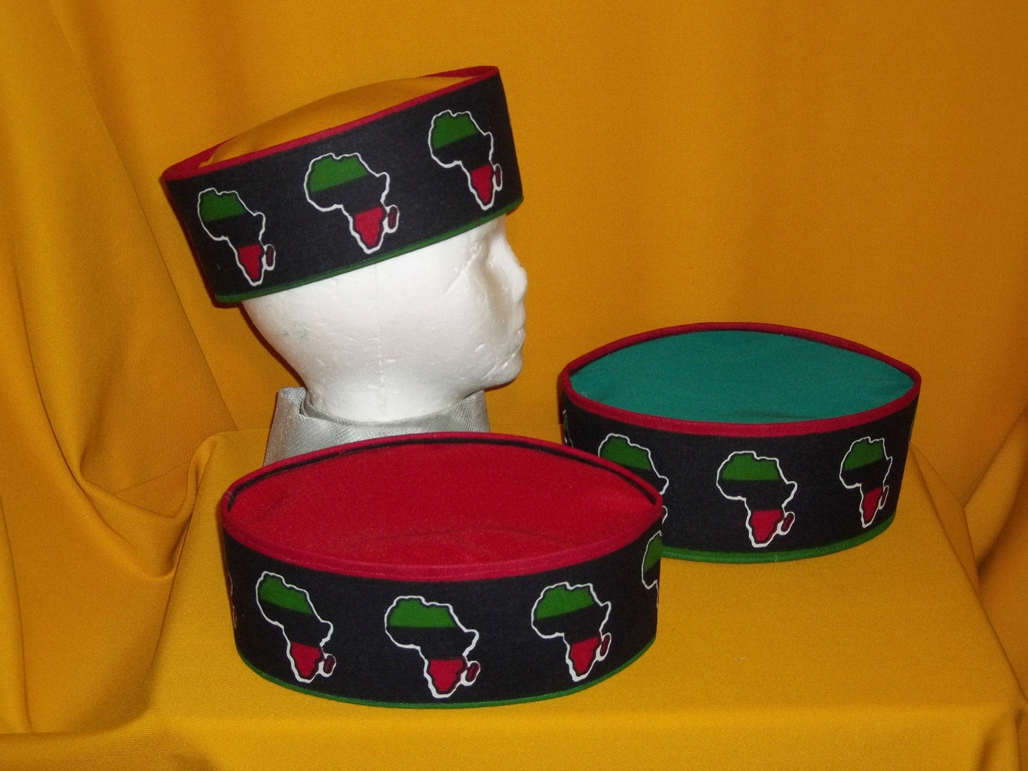 Lids Custom Hats >> Hand Made Mans Black Red Green African Hat Crown Kufi Made