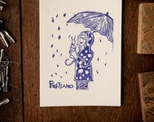 Portland: Rain and Coffee Linocut 5x7 violet on white PDXETSY2011