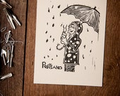 LINOCUT PRINT Portland: Rain and Coffee, 5x7 black on light gray