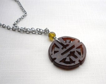 Dark Brown Carved Stone Pendant - Surgical Steel Chain