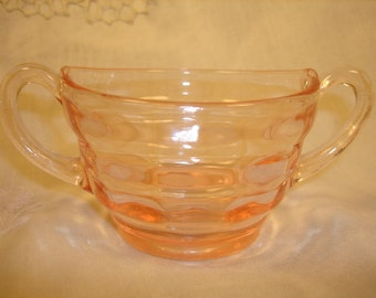 PADEN CITY GLASS Company,  Pink Glass Sugar Bowl,  Collectible Vintage Pink Glass, Country Home Decor