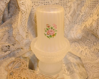 Frosted Ribbed Glass FAIRY LAMP with Pink ROSE Decals, Hobnail bottom, country home decor, hostess gift, girls room, guest room
