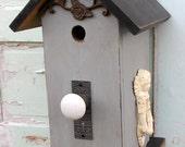 Birdhouse - Blue cottage birdhouse - farmhouse style birdhouse - shabby birdhouse door knocker - garden angel birdhouse