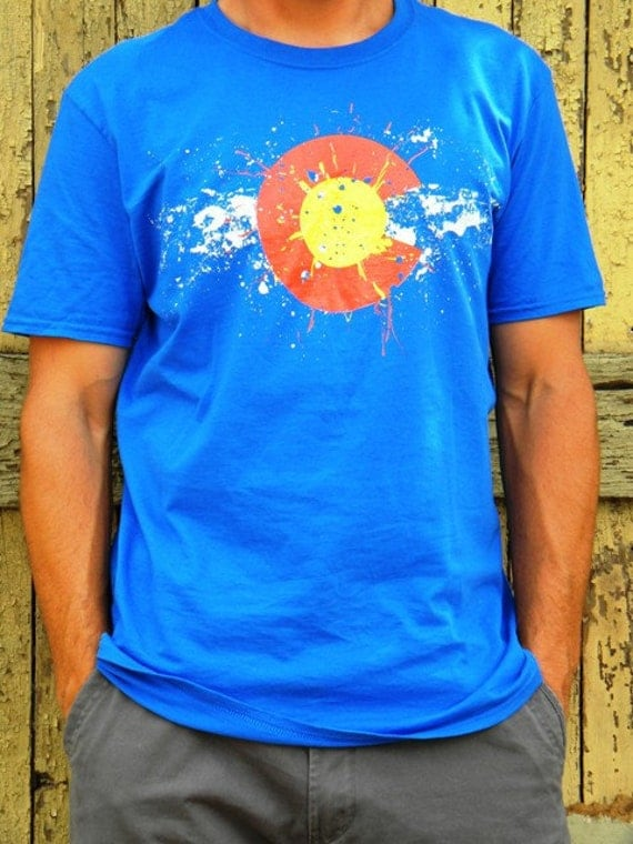 Men's Colorado Flag Paint Splatter -  Preshrunk Cotton Tshirt