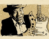 """Buddy Guy poster - Chicago Blues guitar art 12""""x18"""" - signed by the artist"""
